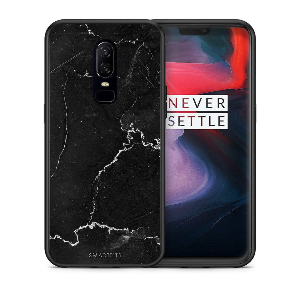 1 - OnePlus 6 black marble case, cover, bumper