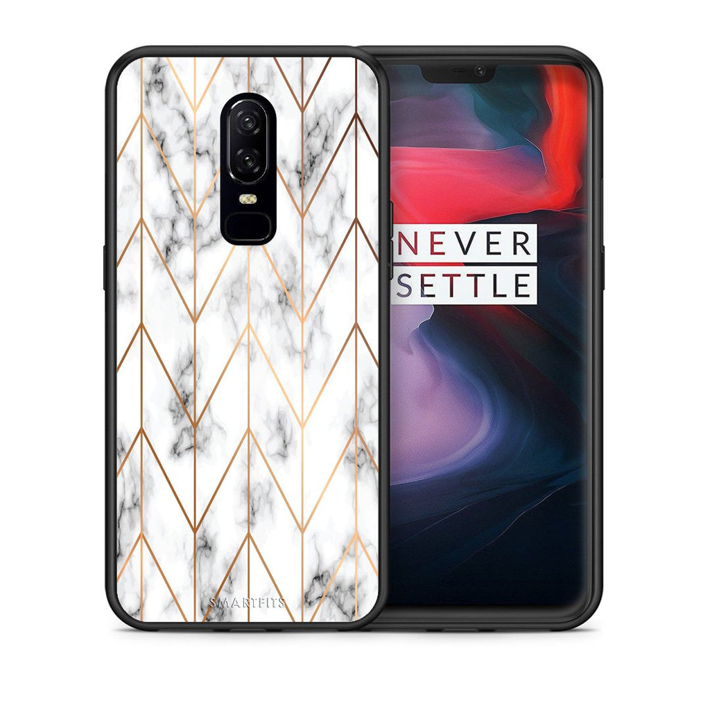44 - OnePlus 6 Gold Geometric Marble case, cover, bumper