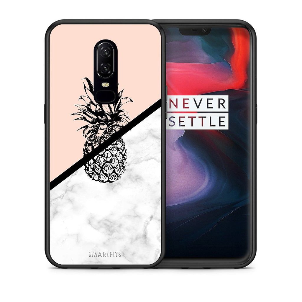 4 - OnePlus 6 Pineapple Marble case, cover, bumper