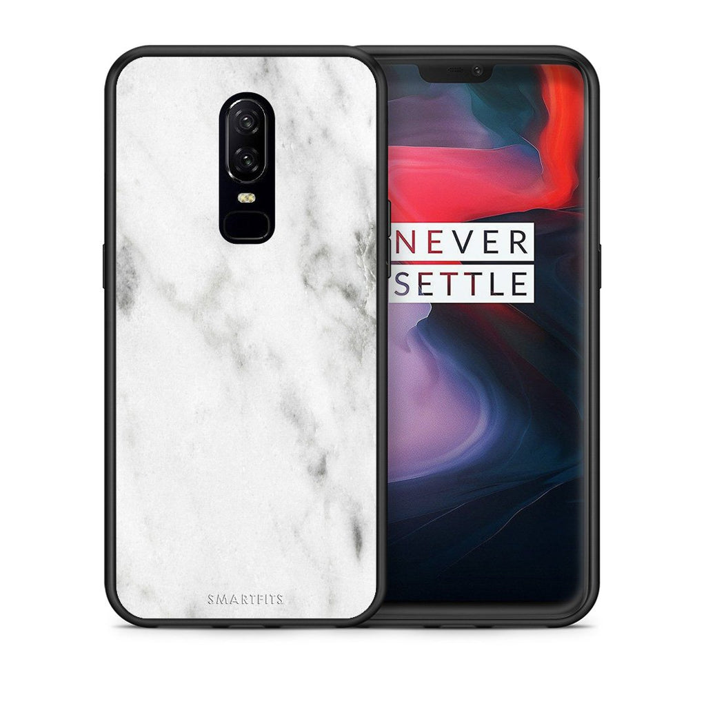 2 - OnePlus 6 White marble case, cover, bumper