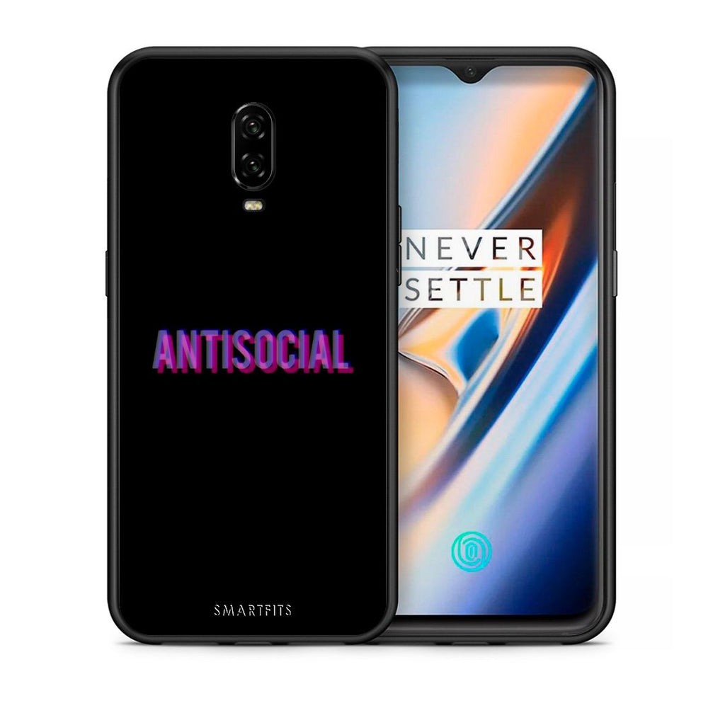 Θήκη OnePlus 6T Antisocial Person από τη Smartfits με σχέδιο στο πίσω μέρος και μαύρο περίβλημα | OnePlus 6T Antisocial Person case with colorful back and black bezels