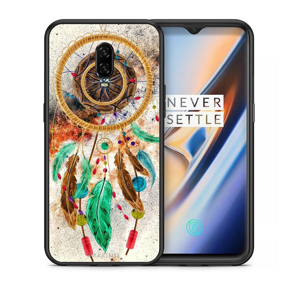 Θήκη OnePlus 6T DreamCatcher Boho από τη Smartfits με σχέδιο στο πίσω μέρος και μαύρο περίβλημα | OnePlus 6T DreamCatcher Boho case with colorful back and black bezels