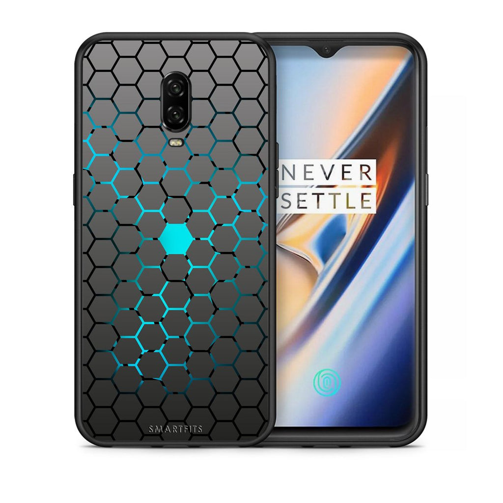 Θήκη OnePlus 6T Hexagonal Geometric από τη Smartfits με σχέδιο στο πίσω μέρος και μαύρο περίβλημα | OnePlus 6T Hexagonal Geometric case with colorful back and black bezels