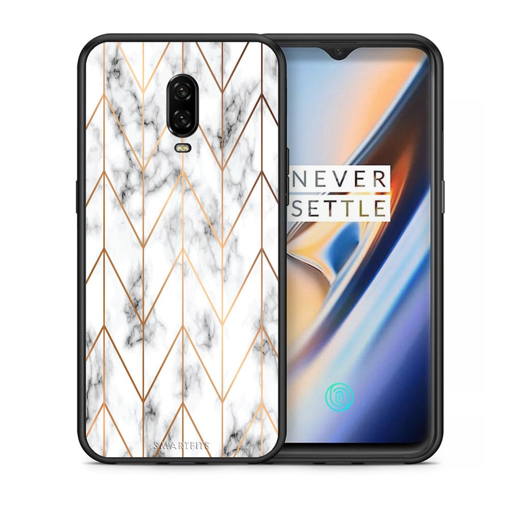 Θήκη OnePlus 6T Gold Geometric Marble από τη Smartfits με σχέδιο στο πίσω μέρος και μαύρο περίβλημα | OnePlus 6T Gold Geometric Marble case with colorful back and black bezels
