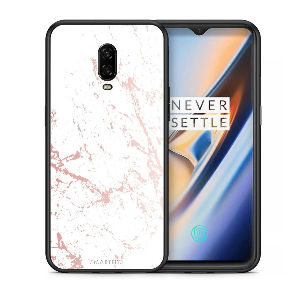 116 - OnePlus 6T Pink Splash Marble case, cover, bumper