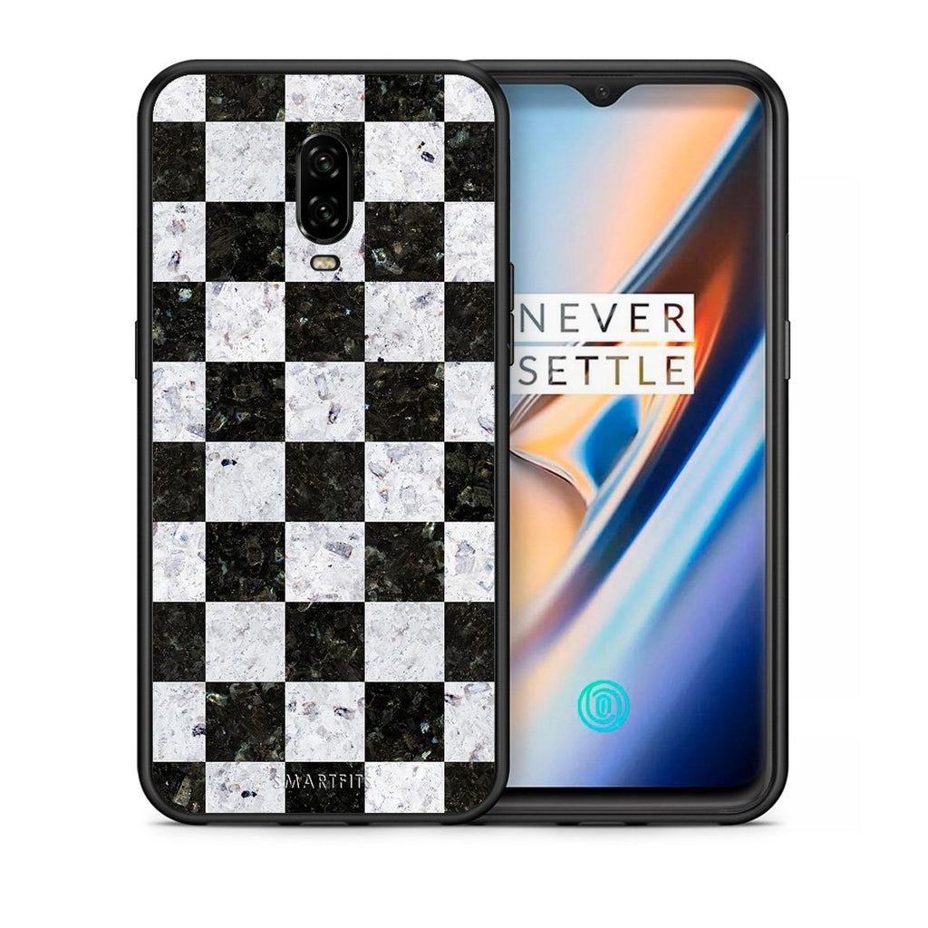 Θήκη OnePlus 6T Square Geometric Marble από τη Smartfits με σχέδιο στο πίσω μέρος και μαύρο περίβλημα | OnePlus 6T Square Geometric Marble case with colorful back and black bezels
