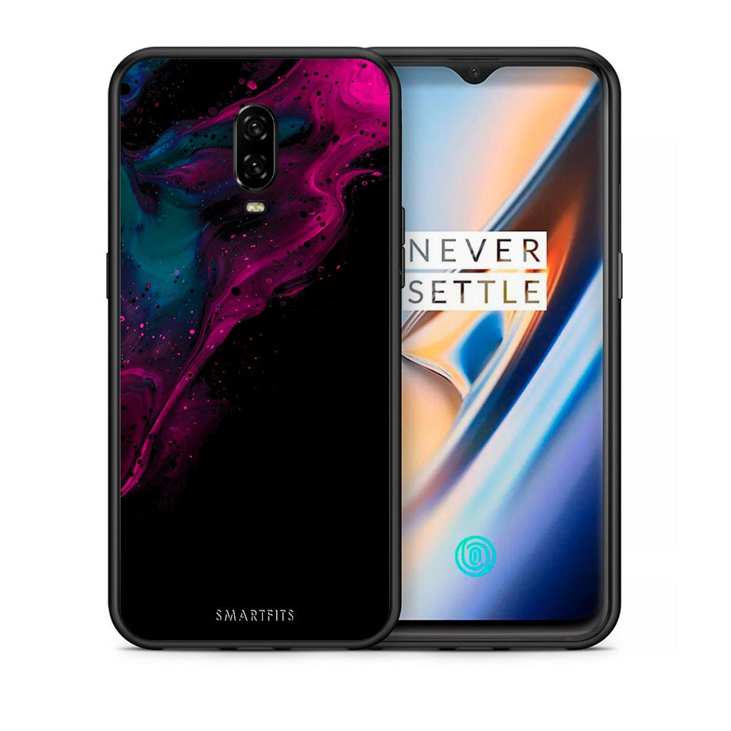 Θήκη OnePlus 6T Pink Black Watercolor από τη Smartfits με σχέδιο στο πίσω μέρος και μαύρο περίβλημα | OnePlus 6T Pink Black Watercolor case with colorful back and black bezels