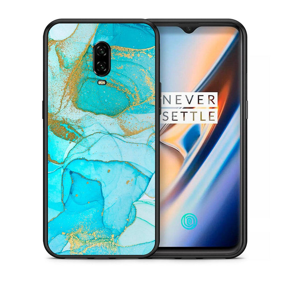Θήκη OnePlus 6T Turquoise Gold Watercolor από τη Smartfits με σχέδιο στο πίσω μέρος και μαύρο περίβλημα | OnePlus 6T Turquoise Gold Watercolor case with colorful back and black bezels