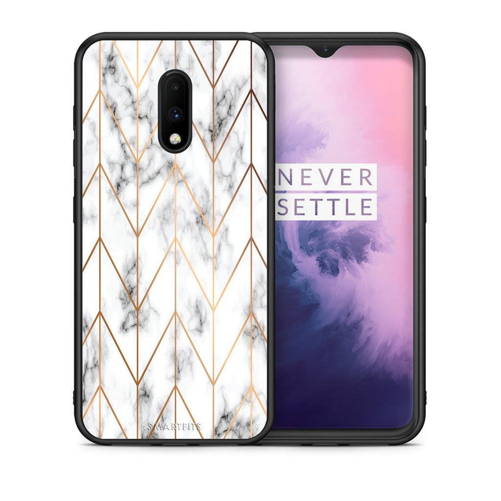 44 - OnePlus 7 Gold Geometric Marble case, cover, bumper