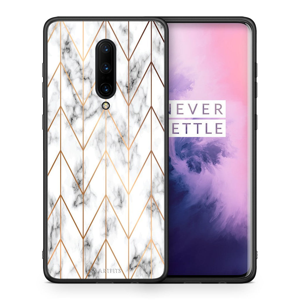 44 - OnePlus 7 Pro Gold Geometric Marble case, cover, bumper
