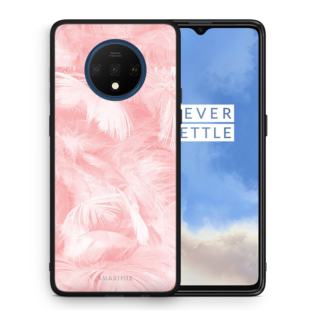 33 - OnePlus 7T  Pink Feather Boho case, cover, bumper