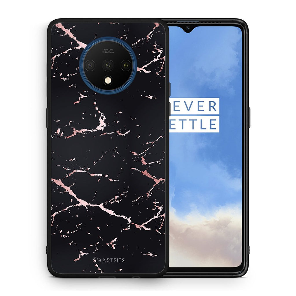 4 - OnePlus 7T  Black Rosegold Marble case, cover, bumper