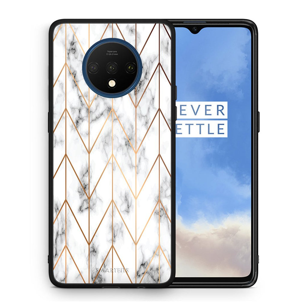 44 - OnePlus 7T  Gold Geometric Marble case, cover, bumper