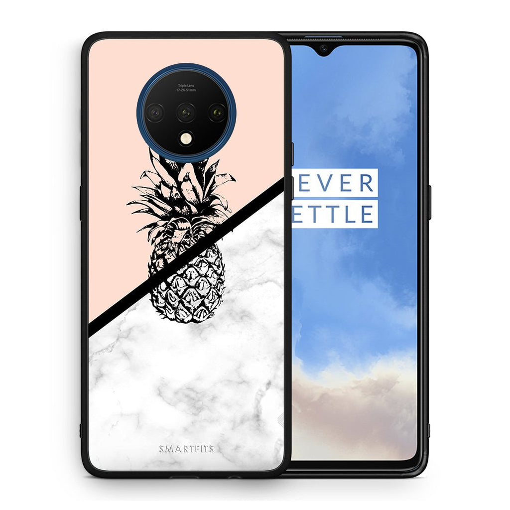 4 - OnePlus 7T Pineapple Marble case, cover, bumper