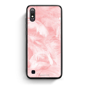 33 - Samsung A10  Pink Feather Boho case, cover, bumper