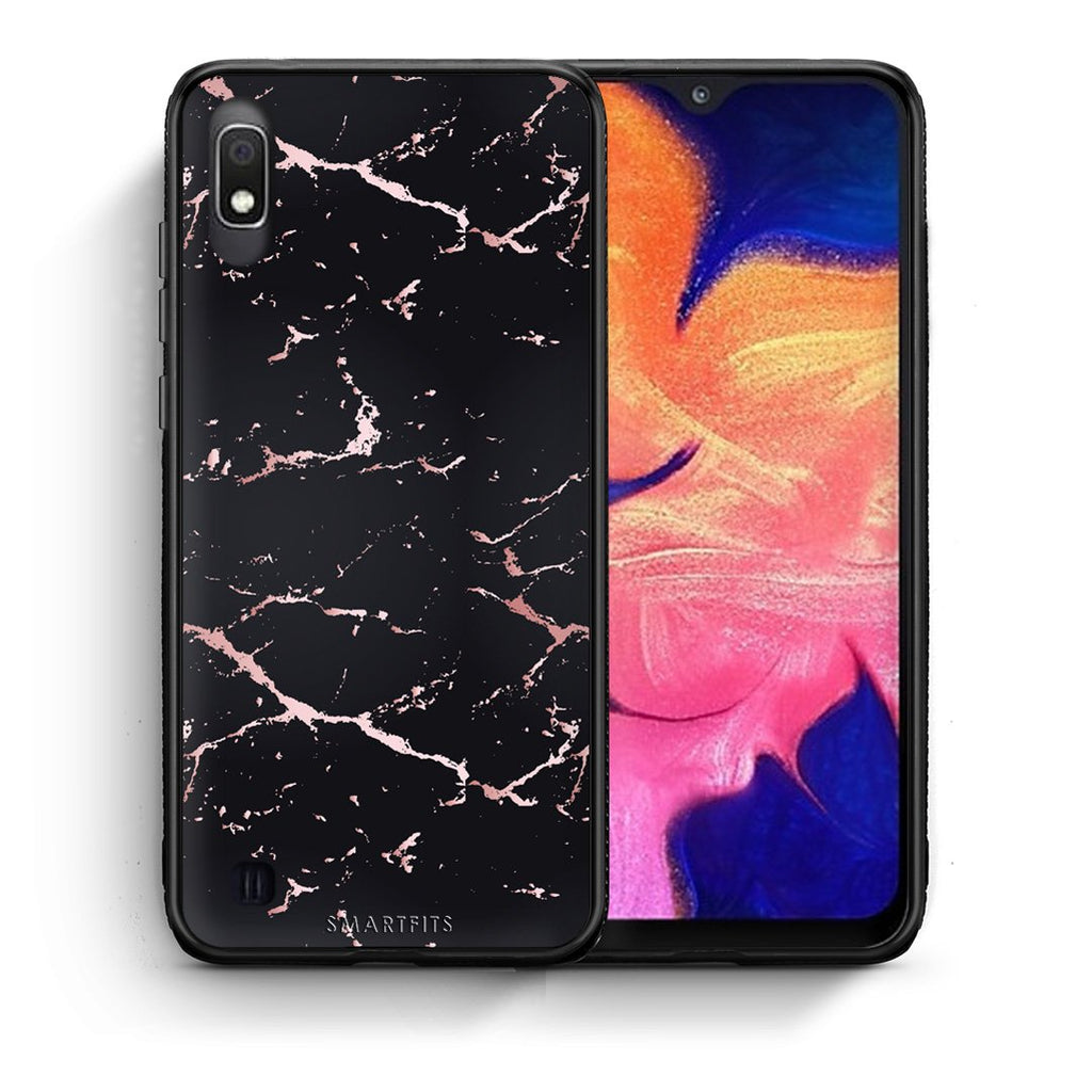 4 - Samsung A10  Black Rosegold Marble case, cover, bumper