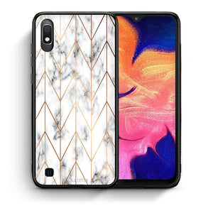 44 - Samsung A10  Gold Geometric Marble case, cover, bumper