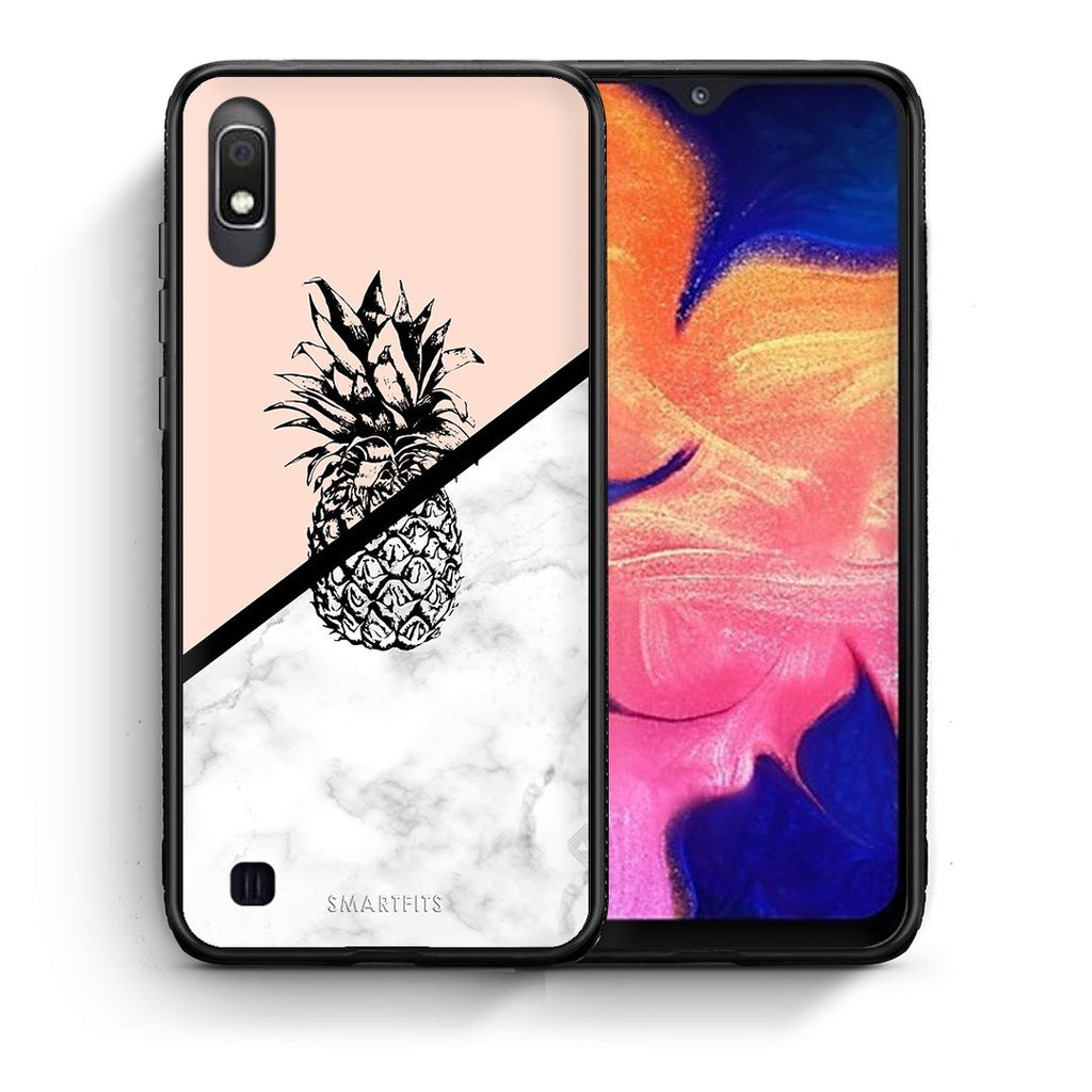 4 - Samsung A10 Pineapple Marble case, cover, bumper