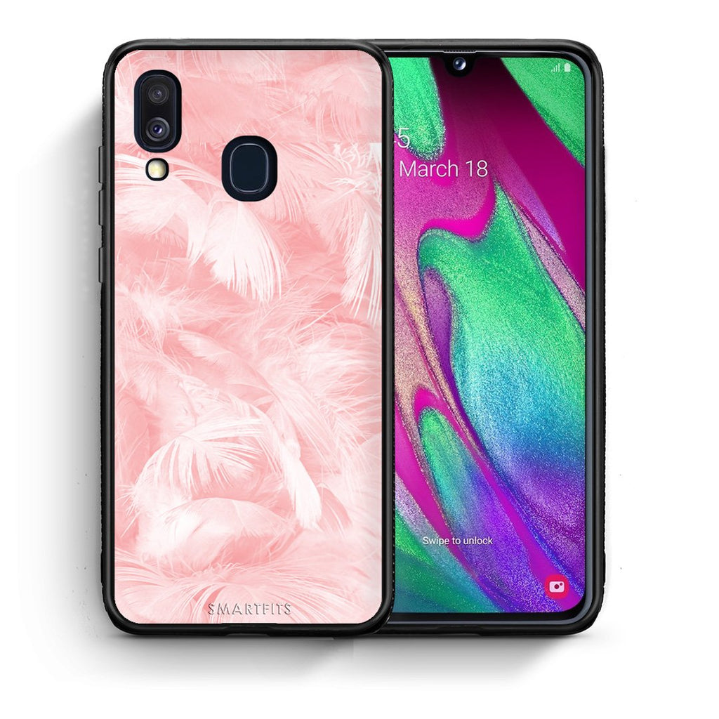 33 - Samsung A40  Pink Feather Boho case, cover, bumper