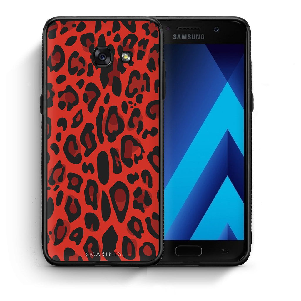 4 - Samsung A5 2017 Red Leopard Animal case, cover, bumper