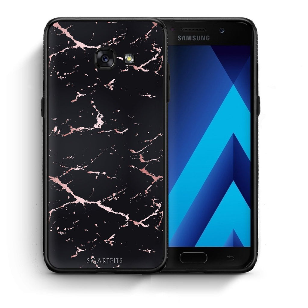 4 - Samsung A5 2017 Black Rosegold Marble case, cover, bumper