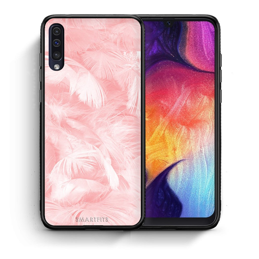33 - samsung galaxy a50 Pink Feather Boho case, cover, bumper