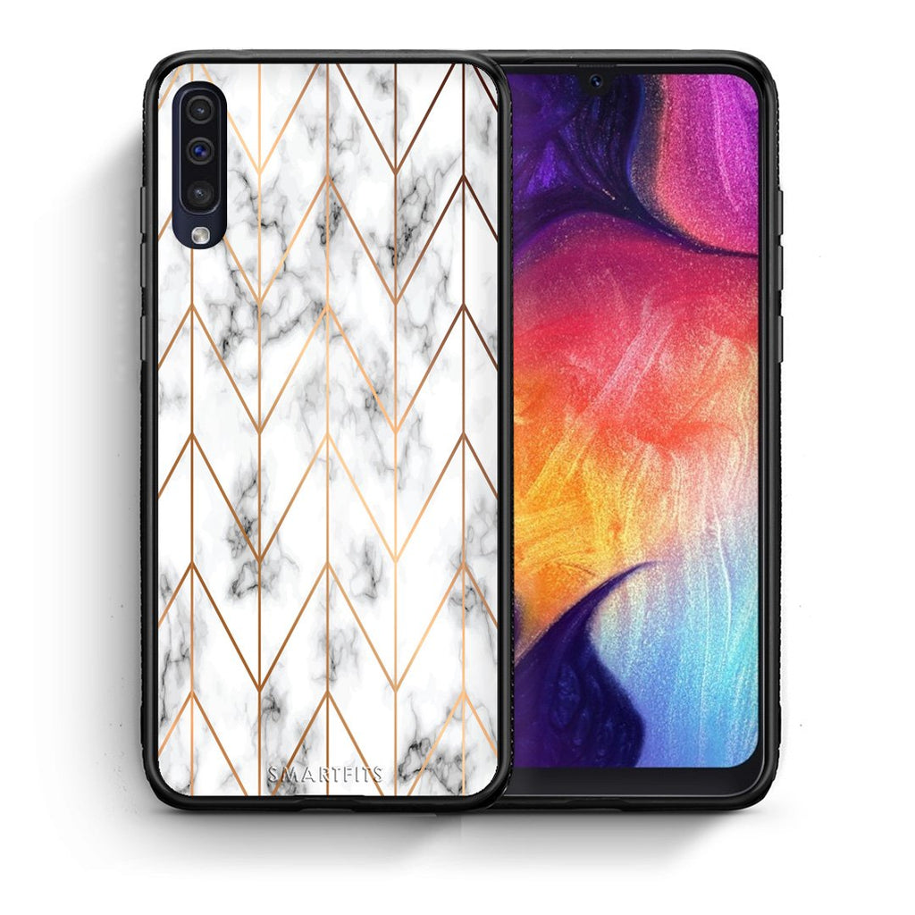 44 - samsung galaxy a50 Gold Geometric Marble case, cover, bumper