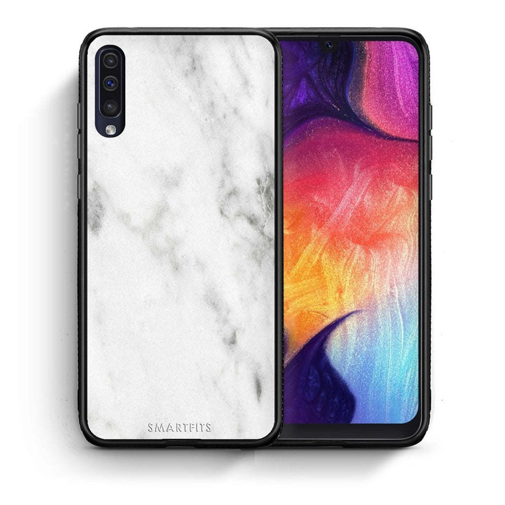 2 - samsung galaxy a50 White marble case, cover, bumper