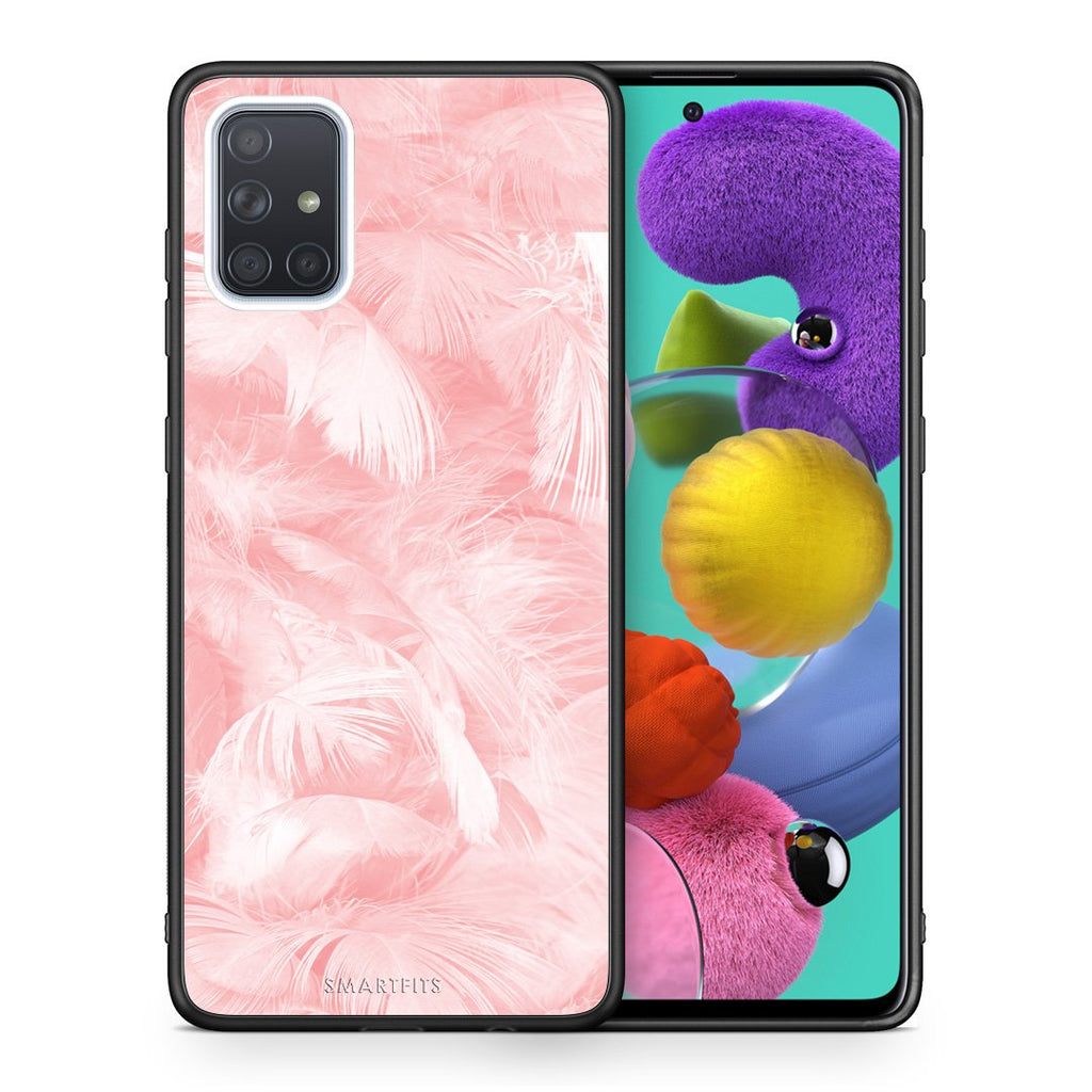 Θήκη Samsung A51 Pink Feather Boho από τη Smartfits με σχέδιο στο πίσω μέρος και μαύρο περίβλημα | Samsung A51 Pink Feather Boho case with colorful back and black bezels