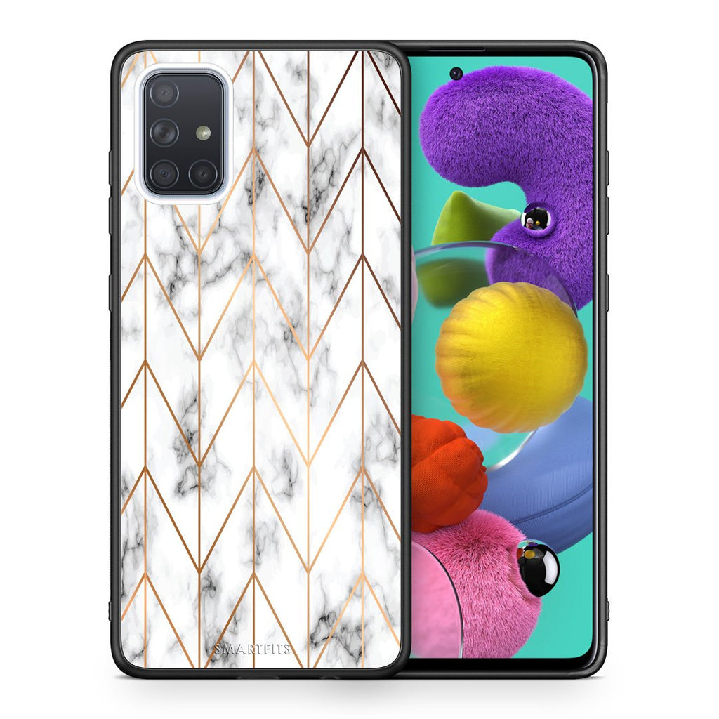 Θήκη Samsung A51 Gold Geometric Marble από τη Smartfits με σχέδιο στο πίσω μέρος και μαύρο περίβλημα | Samsung A51 Gold Geometric Marble case with colorful back and black bezels