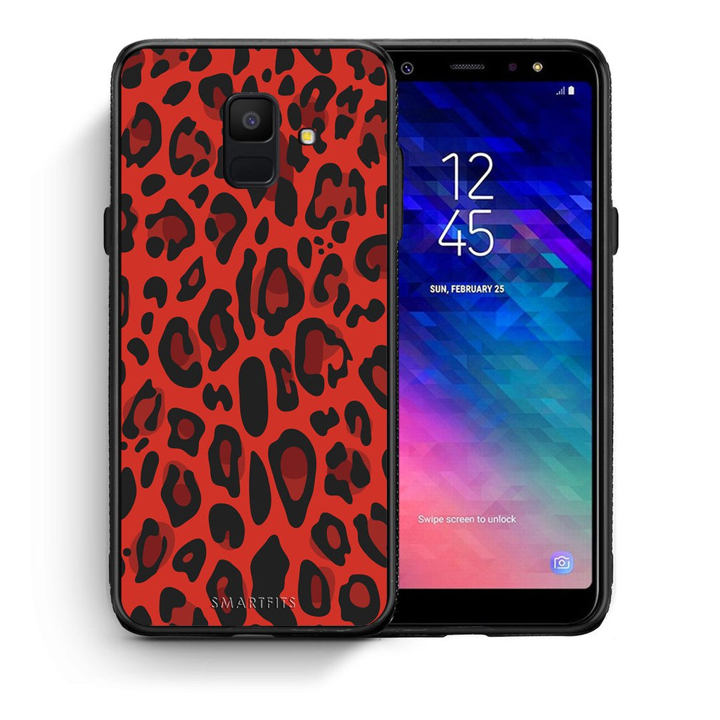 4 - samsung galaxy A6 Red Leopard Animal case, cover, bumper