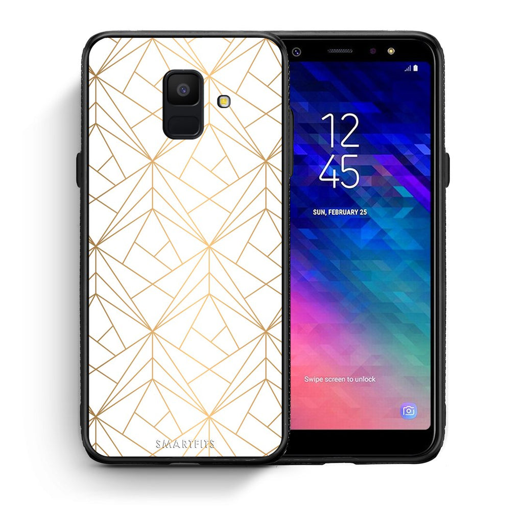 111 - samsung galaxy A6  Luxury White Geometric case, cover, bumper
