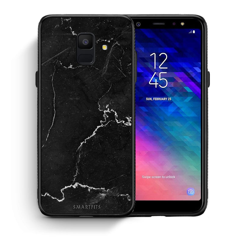 1 - samsung galaxy A6  black marble case, cover, bumper