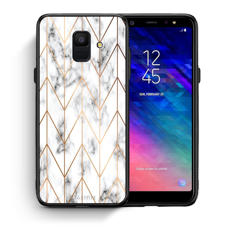 Θήκη Samsung A6 2018 Gold Geometric Marble από τη Smartfits με σχέδιο στο πίσω μέρος και μαύρο περίβλημα | Samsung A6 2018 Gold Geometric Marble case with colorful back and black bezels
