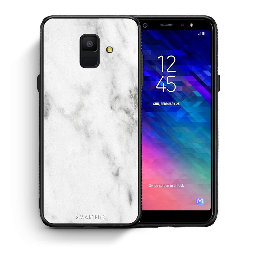 2 - samsung galaxy A6  White marble case, cover, bumper