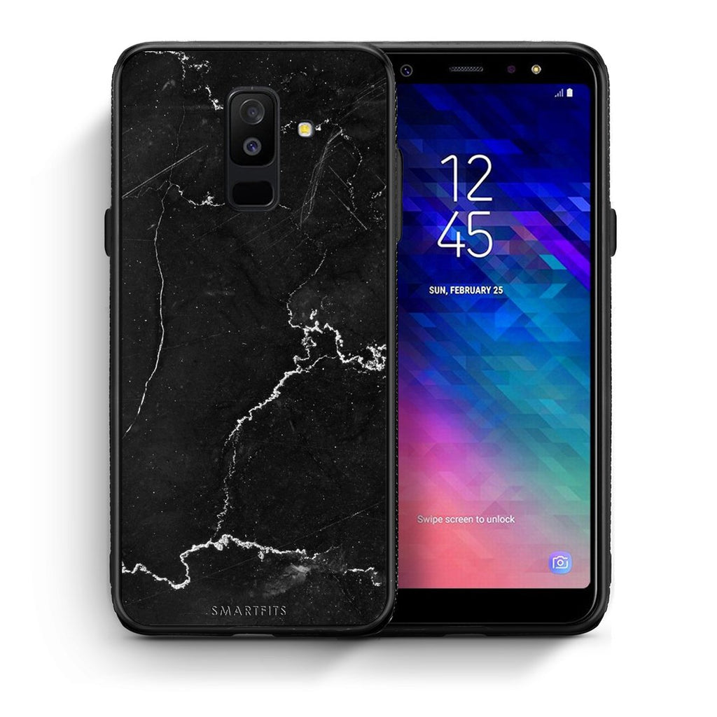 1 - samsung galaxy A6 Plus  black marble case, cover, bumper
