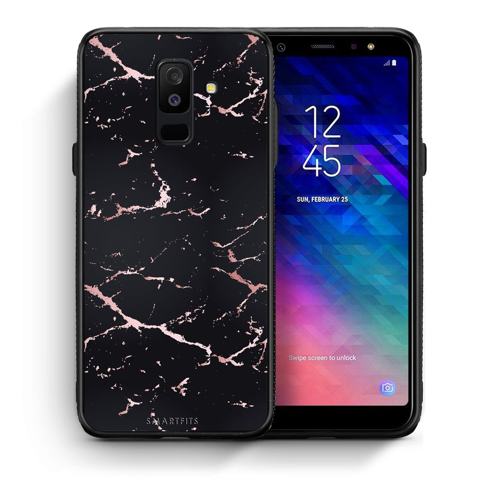 4 - samsung galaxy A6 Plus  Black Rosegold Marble case, cover, bumper