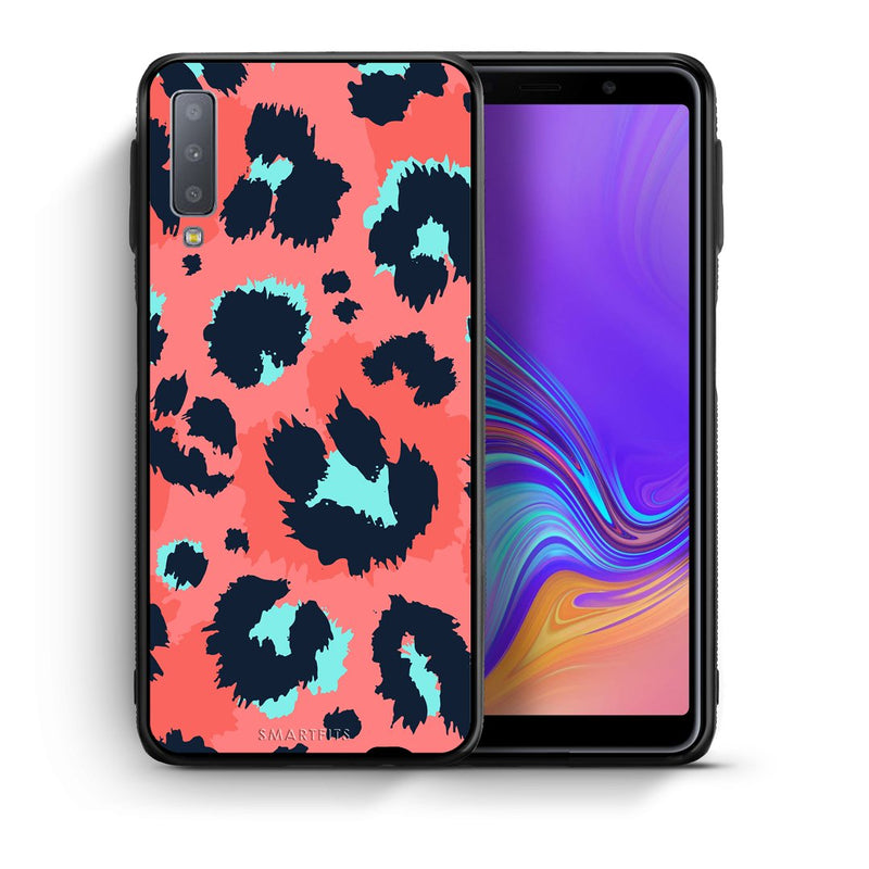 22 - samsung galaxy A7  Pink Leopard Animal case, cover, bumper