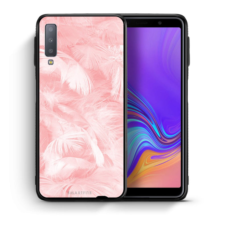 33 - samsung galaxy A7  Pink Feather Boho case, cover, bumper