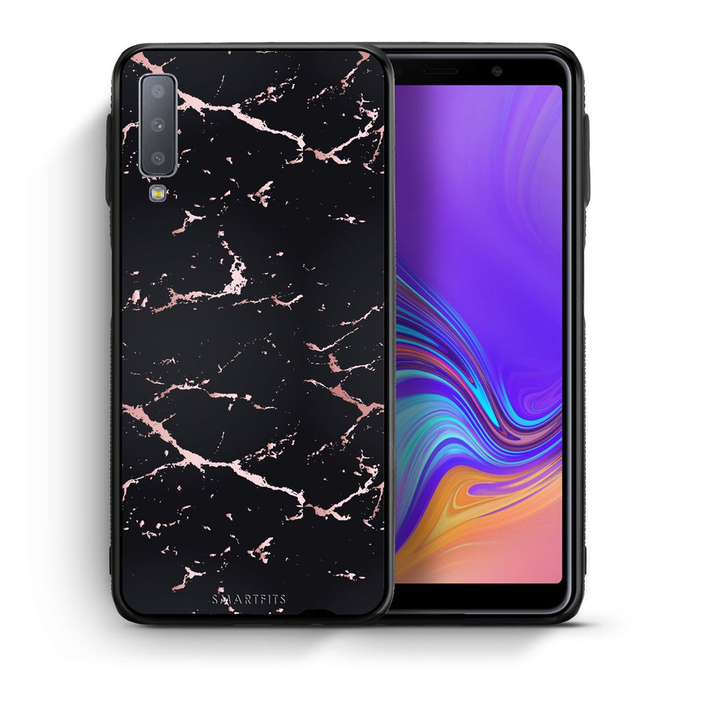 4 - samsung galaxy A7  Black Rosegold Marble case, cover, bumper