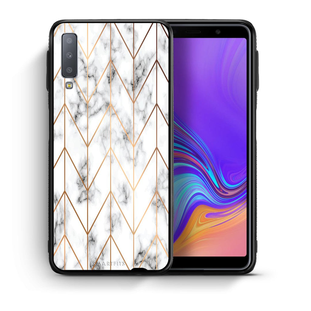 44 - samsung galaxy A7  Gold Geometric Marble case, cover, bumper