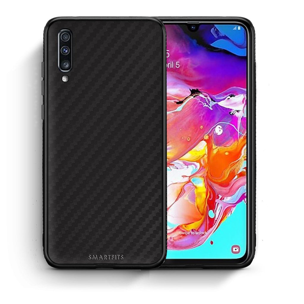 0 - Samsung A70  Black Carbon case, cover, bumper