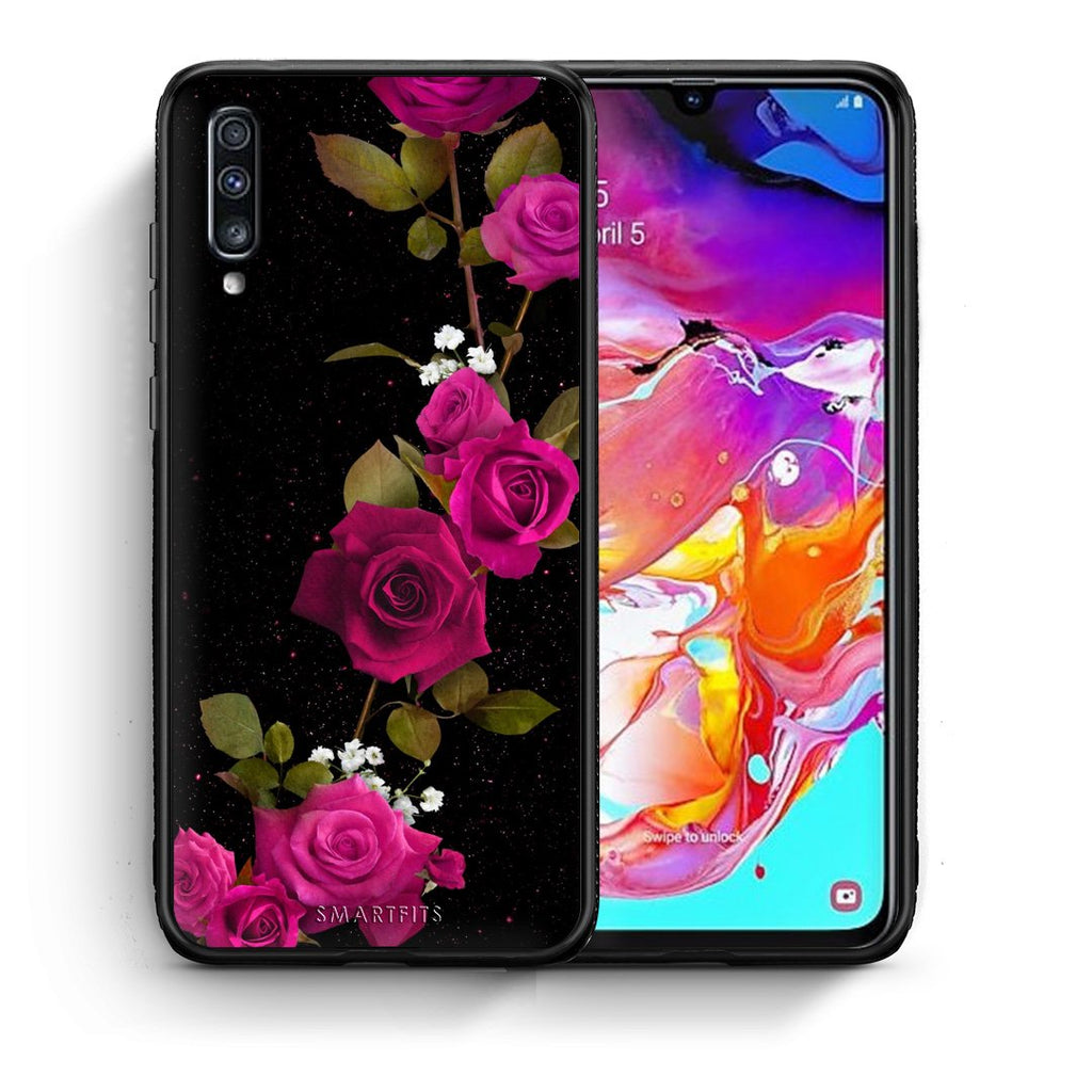 4 - Samsung A70 Red Roses Flower case, cover, bumper
