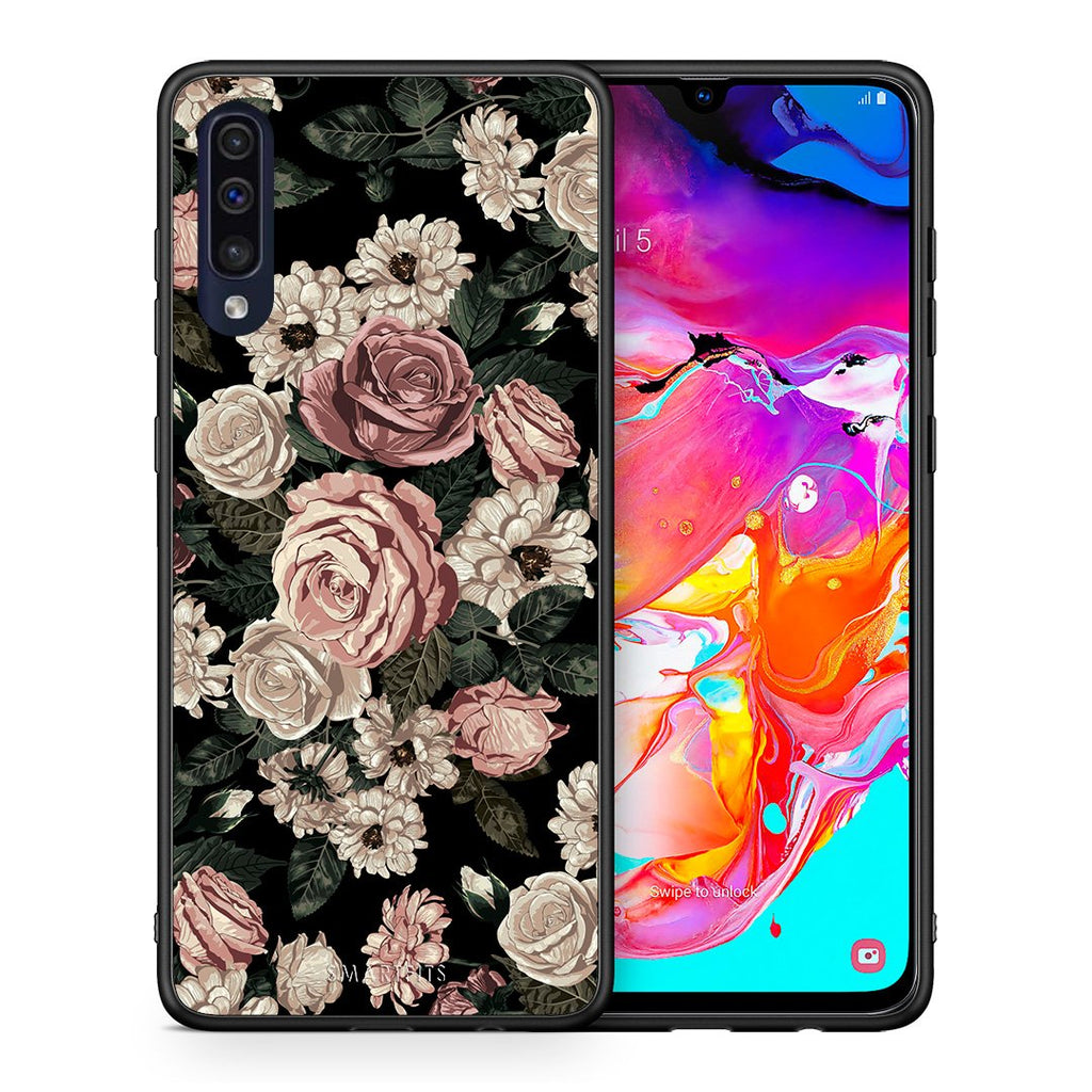 Θήκη Samsung A70 Wild Roses Flower από τη Smartfits με σχέδιο στο πίσω μέρος και μαύρο περίβλημα | Samsung A70 Wild Roses Flower case with colorful back and black bezels
