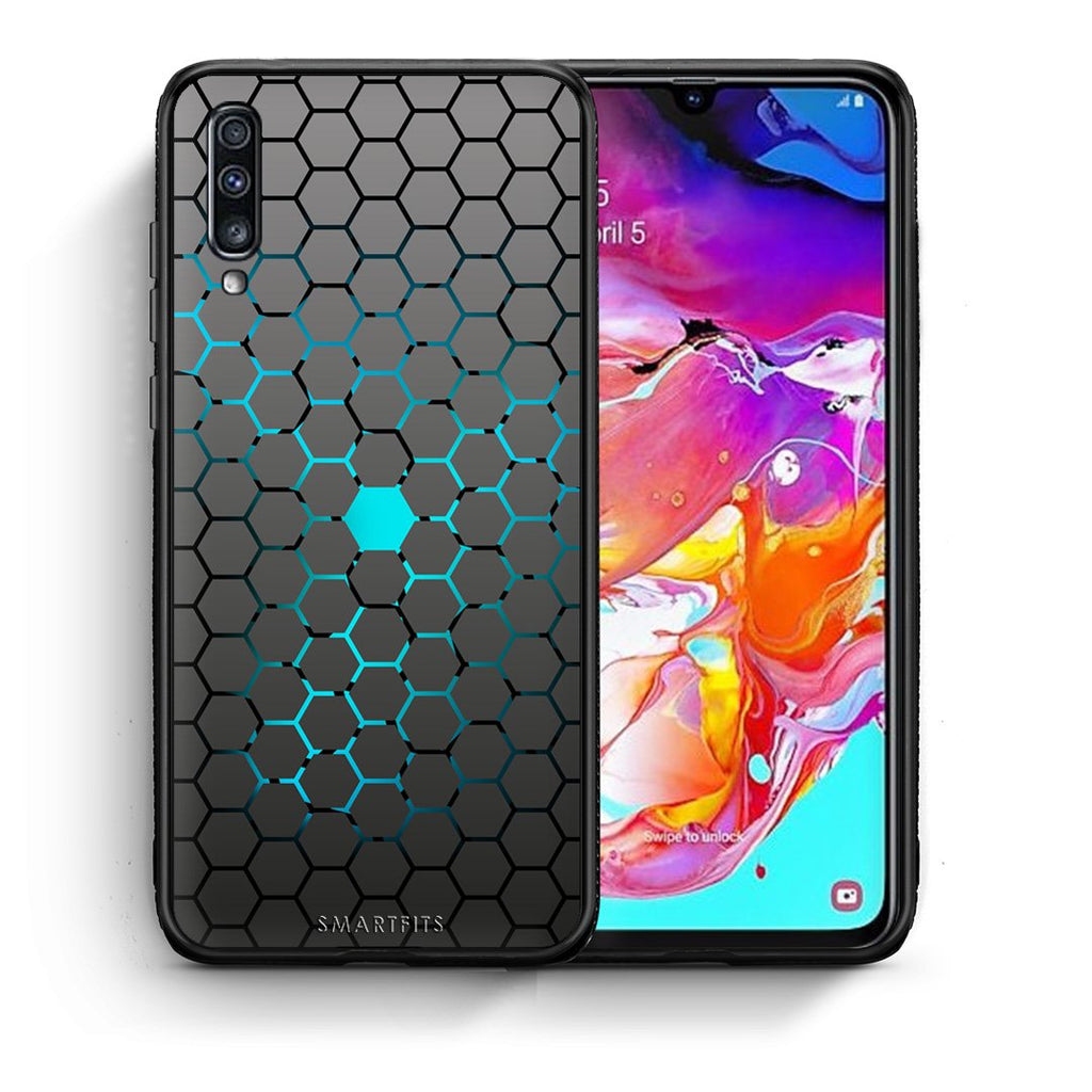 Θήκη Samsung A70 Hexagonal Geometric από τη Smartfits με σχέδιο στο πίσω μέρος και μαύρο περίβλημα | Samsung A70 Hexagonal Geometric case with colorful back and black bezels