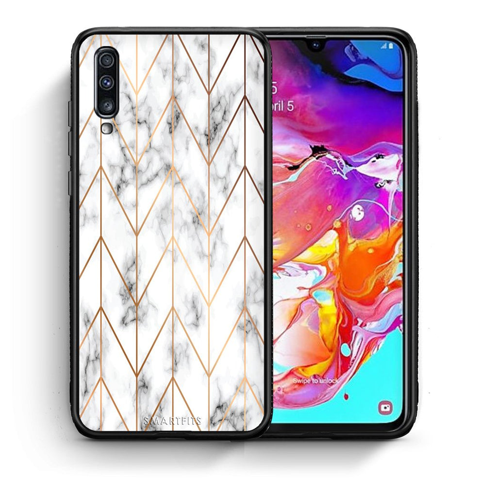 Θήκη Samsung A70 Gold Geometric Marble από τη Smartfits με σχέδιο στο πίσω μέρος και μαύρο περίβλημα | Samsung A70 Gold Geometric Marble case with colorful back and black bezels