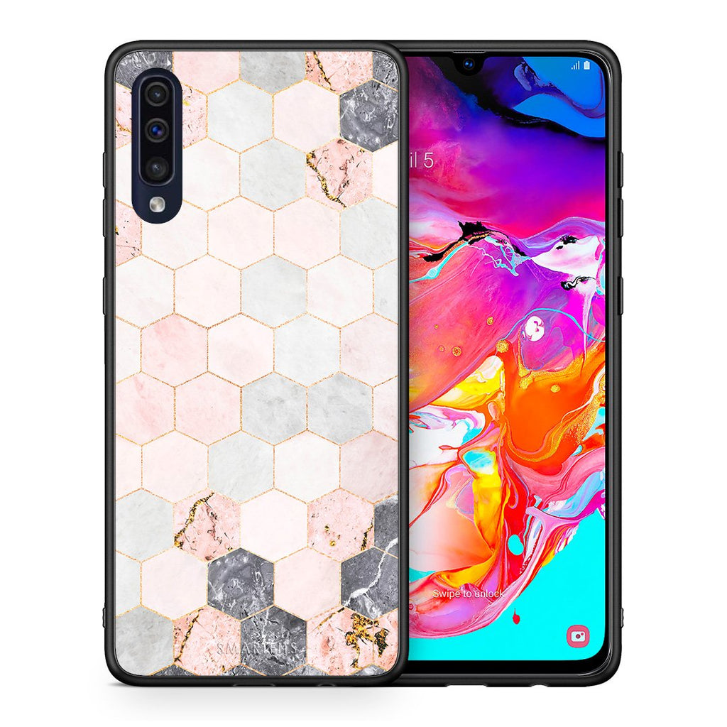 Θήκη Samsung A70 Hexagon Pink Marble από τη Smartfits με σχέδιο στο πίσω μέρος και μαύρο περίβλημα | Samsung A70 Hexagon Pink Marble case with colorful back and black bezels