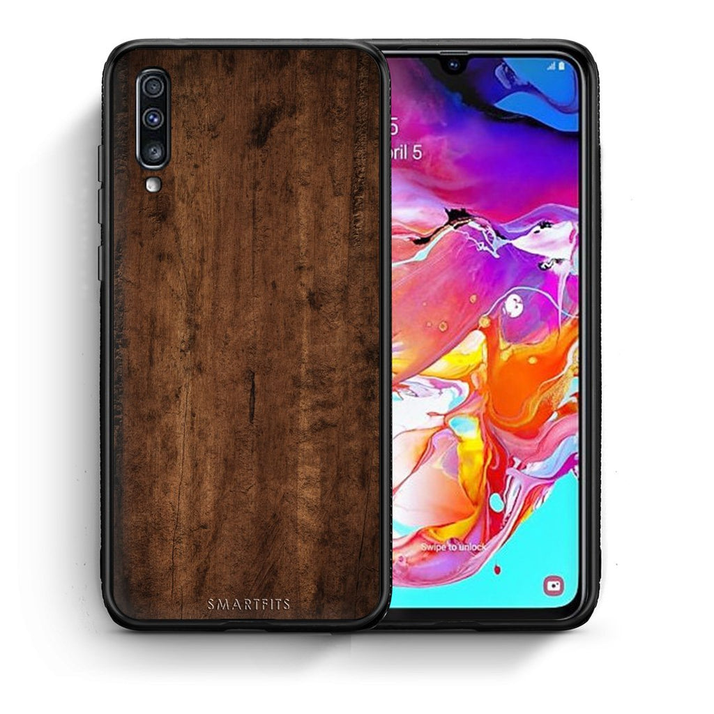 84 - Samsung A70  Dark Wood case, cover, bumper