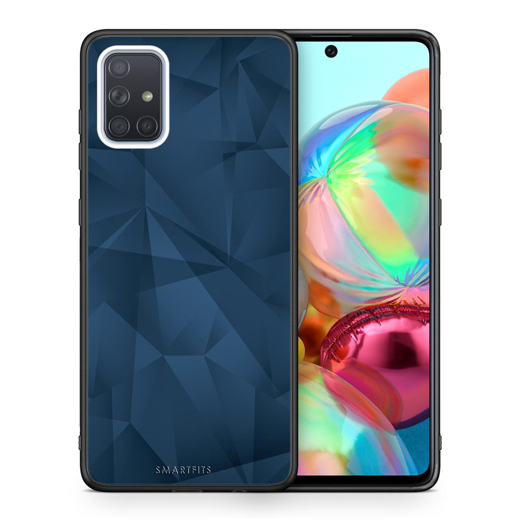 39 - Samsung A71 Blue Abstract Geometric case, cover, bumper