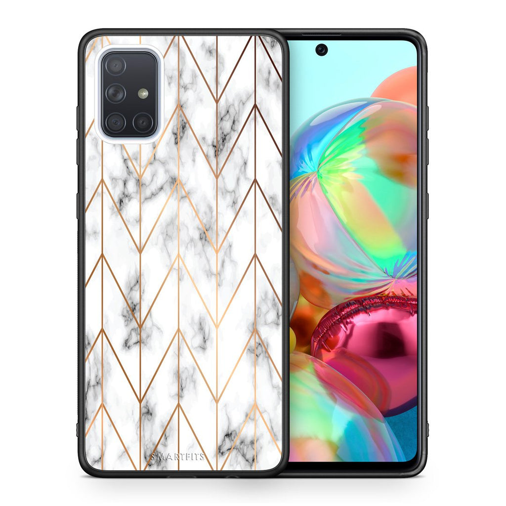 44 - Samsung A71 Gold Geometric Marble case, cover, bumper